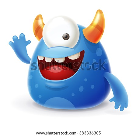 Cute Cartoon Monster Waving Hello