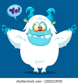 Cute cartoon monster yeti. Vector bigfoot character