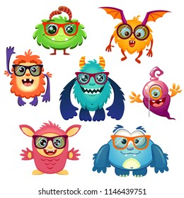Cute cartoon monsters in glasses