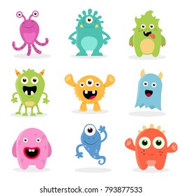 Cute Cartoon Monsters illustration. Flat vector collection.