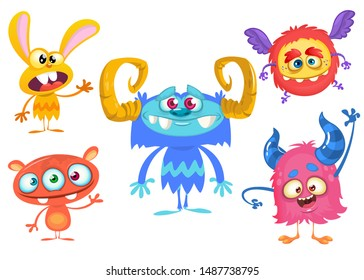 Cute cartoon Monsters. Set of cartoon monsters: bigfoot yeti, troll, monster  and alien . Halloween vector design