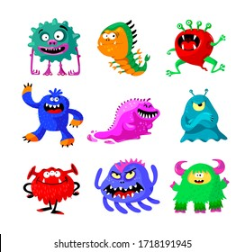 Cute Cartoon Monsters Set. Comic Halloween Joyful Characters, Funny Devil, Ugly Alien and Smile Creatures Isolated on White Background. Mutants, Germs and Bacteria. Cartoon Vector Illustration