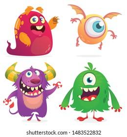 Cute cartoon Monsters. Set of cartoon monsters: ghost, goblin or troll, cyclops and alien . Halloween design