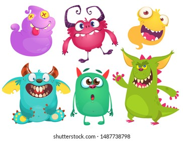 Cute cartoon Monsters. Set of cartoon monsters: ghost, goblin, bigfoot yeti, troll, dragon and alien . Halloween design