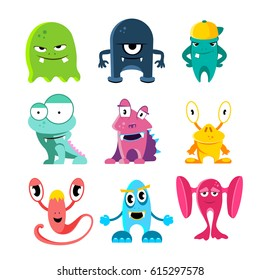 Cute cartoon monsters, vector funny characters with spooky eyes