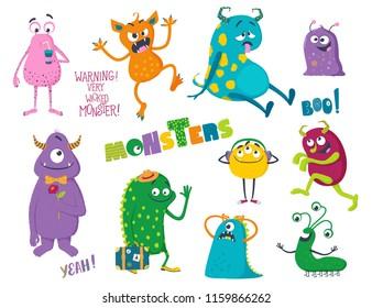 Cute cartoon monsters. Vector illustration for kids