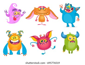 Cute cartoon Monsters. Vector set of cartoon monsters: ghost, goblin, bigfoot, gremlin troll and alien. Halloween characters isolated