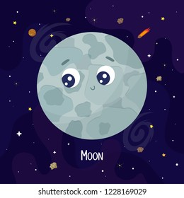 Cute cartoon Moon character. Space vector illustration
