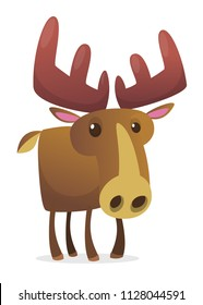 Cute cartoon moose character. Wild forest animal collection. Baby education. Isolated on white background. Flat design Vector illustration