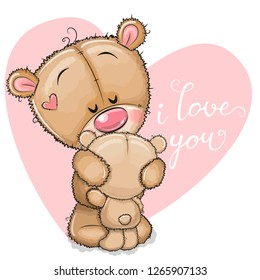 Cute Cartoon mother bear is hugging baby bear