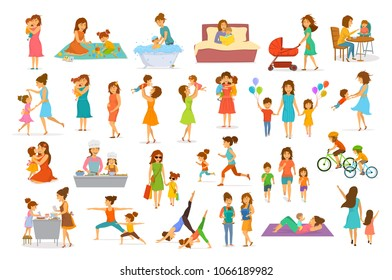 cute cartoon mother and children isolated vector illustration scenes set, mom with daughter son kids baby cook, bake, play ride bike, make exercise sport run yoga dance hug kiss walk, shopping, read