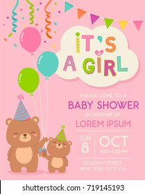 Cute cartoon mother and daughter bears illustration for girl baby shower invitation card template