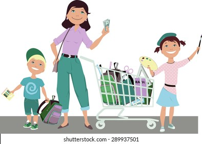 Cute cartoon mother with two children: boy and girl, standing next to a shopping cart, filled with school supplies, holding saved money in her hand, vector illustration, no transparencies, EPS 8