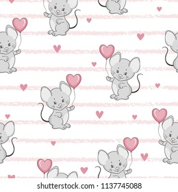 Cute cartoon mouse with balloon seamless pattern. Vector baby background.