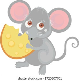 Cute cartoon mouse with cheese