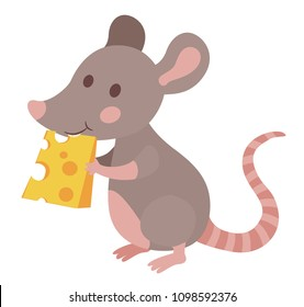 cute cartoon mouse eating cheese vector illustration