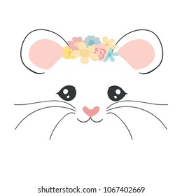 Cute cartoon mouse face. Little mouse with flowers. Vector illustration for children.