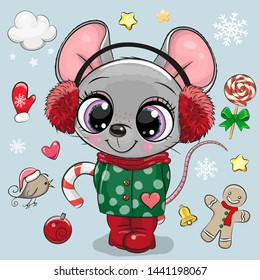 Cute Cartoon mouse girl in a coat and fur headphones
