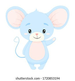 Cute cartoon Mouse isolated on white background. Little funny character. Vector illustration.