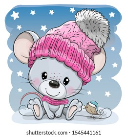 Cute Cartoon mouse in a knit cap and a bird