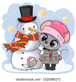 Cute Cartoon Mouse in a knitted cap and snowman