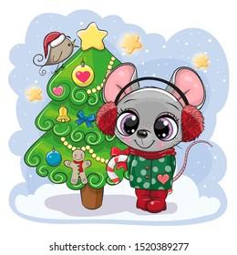 Cute Cartoon mouse is near the Christmas tree