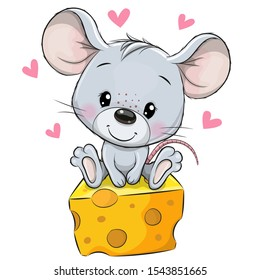 Cute Cartoon Mouse is sitting on a cheese on a white background