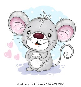 Cute Cartoon mouse. vector print. Good for greeting cards, invitations, decoration, Print for Baby Shower, etc