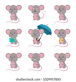 Cute cartoon mouse vector set. Character illustration of mice with different emotions isolated on a white background.