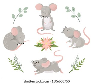 Cute cartoon mouses in different poses with floral elements. Vector illustration.