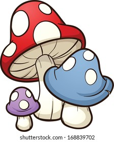 Cute cartoon mushrooms. Vector clip art illustration with simple gradients. Each on a separate layer.