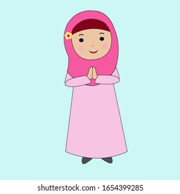 cute cartoon muslim girl vector 260nw 1654399285