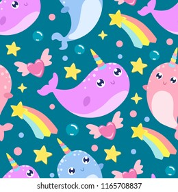 Cute cartoon narwhal seamless background