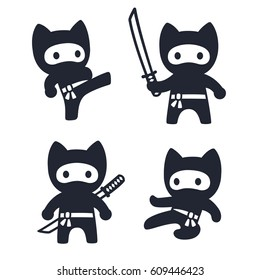 Cute cartoon ninja cat set. Adorable vector black and white drawings in simple modern Japanese style.