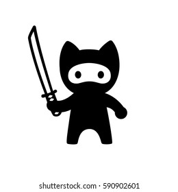 Cute cartoon ninja cat with sword. Vector black and white illustration in simple minimal Japanese style.