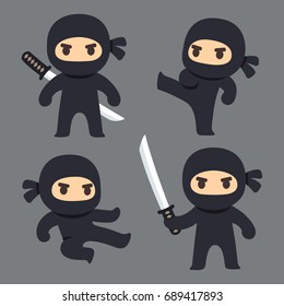 Cute cartoon ninja with katana sword, martial arts poses. Vector clip art illustration set.