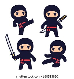 Cute cartoon ninja set with katana sword, different fighting poses. Isolated vector clip art illustration.