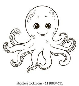 Cute cartoon octopus for coloring book.
