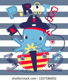 Cute cartoon octopus riding a ship dressed in a pirate costume on striped background illustration vector, T-Shirt design for kids.