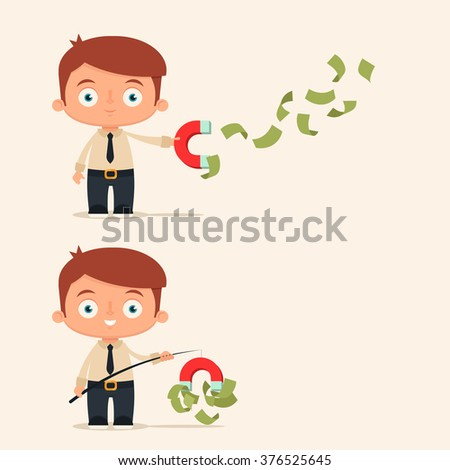 cute cartoon office worker collecting money stock vector royalty