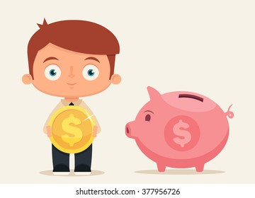 Cute Cartoon Office Worker Holding a Big Gold Coin and Standing Near the Piggy Bank. Vector Illustration