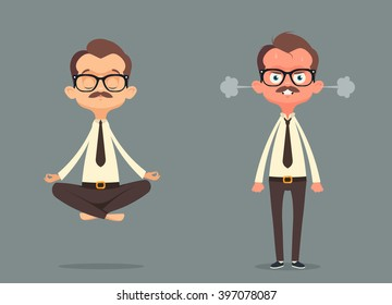 Cute Cartoon Office Workers: Calm and Angry. Vector Illustration