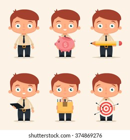 Cute Cartoon Office Workers Holding Different Objects. Vector Set
