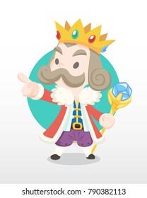 Cute cartoon old king holding staff illustration