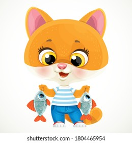 Cute cartoon orange baby cat with caught fish isolated on a white background