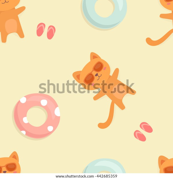 Cute cartoon orange cat with  swim ring. Vector summer seamless pattern