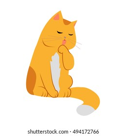 Cute cartoon orange cat. The orange cat washes, licks a paw. Cat is washing itself. Cat icon. Pet icon. Isolated vector illustration on white background