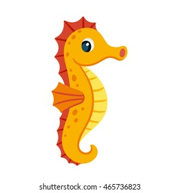 Cute cartoon orange seahorse. Isolated vector illustration.