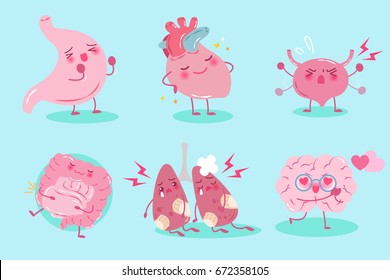 cute cartoon organ with helath concept on the blue background
