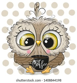 Cute Cartoon owl with a black Cup of coffee